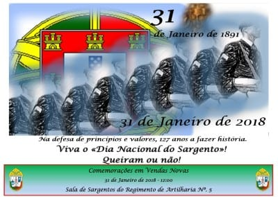 Vendas Novas – Sala de Sargentos do Regimento de Artilharia Nº.5 – 31 Janeiro 2018 – 12:00