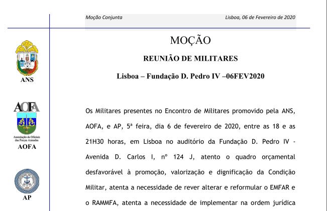Moção Aprovada na Reunião de Militares 06FEV2020