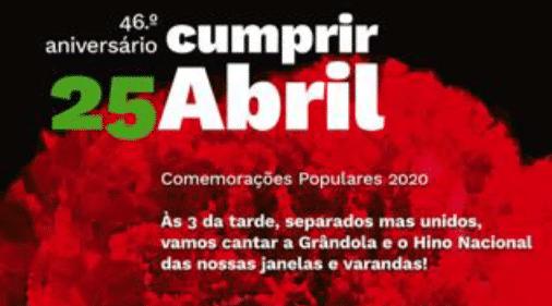 Assinalemos os 46 anos do 25 de Abril em 2020